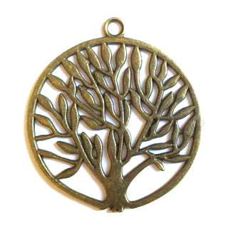 Antique Bronze Tree Pendant 38mm