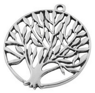 Antique Silver Tree Pendant 38mm