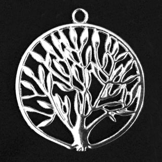 Bright Silver Plated Pewter Tree Pendant 38mm