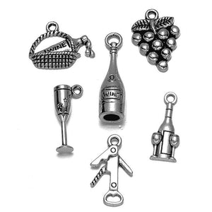 Antique Silver Mixed Wine Charms