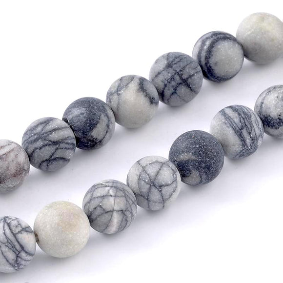 Zebra Jasper Frosted Round 8mm