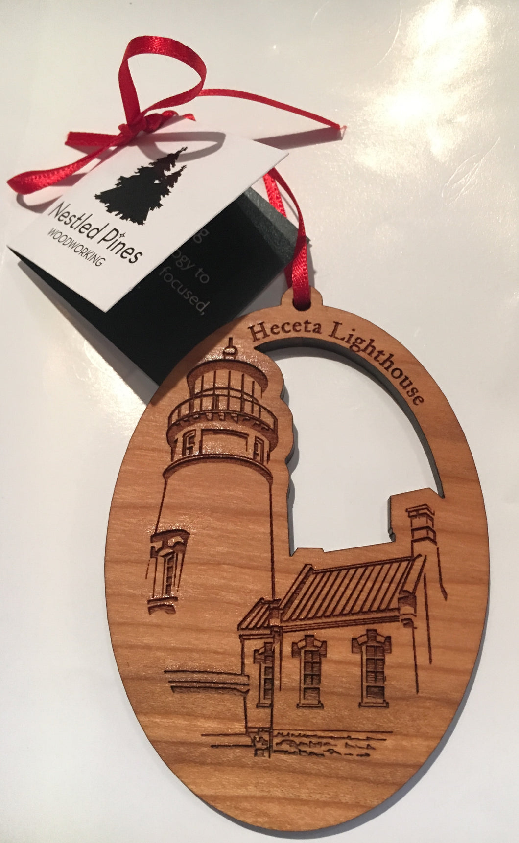 Wooden Oval Heceta Head Christmas Ornament