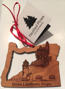 Christmas Ornament - Wooden Heceta Lighthouse