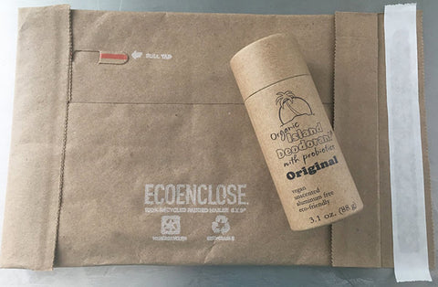 eco friendly deodorant in compostable shipping envelope