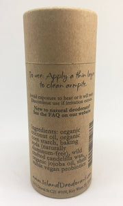 Ingredients List on Original Compostable Organic Deodorant Container