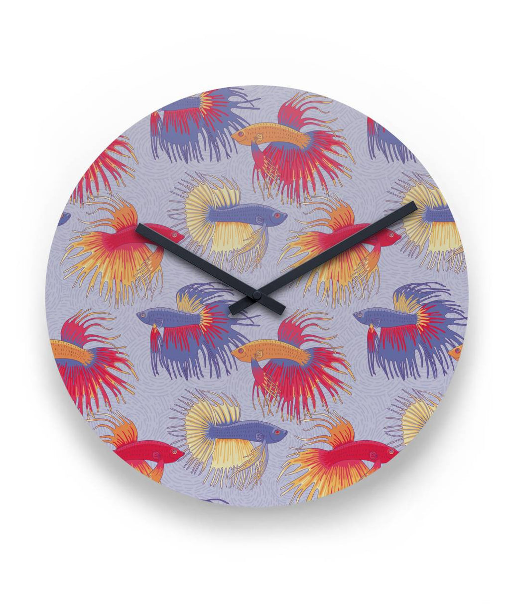 Clocks flowingfins colorful betta fish pattern clock round wall clock amipublicfo Images