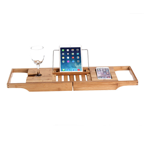 Adjustable Bamboo Bathtub Tray with Tablet Stand