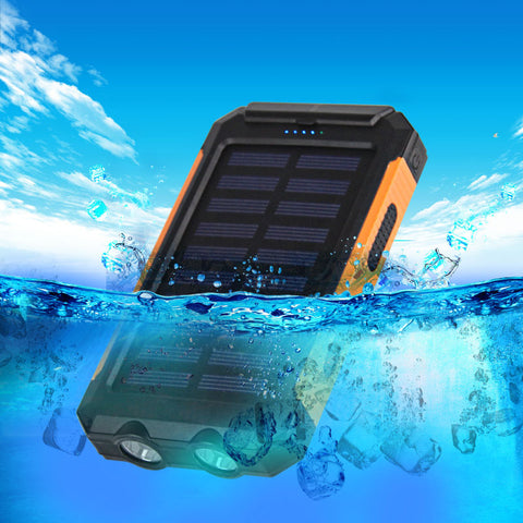 Waterproof Solar Power Bank Dual USB with Solar Battery Charger