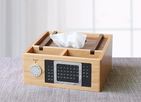 Wooden Desk Calendar and Storage Box