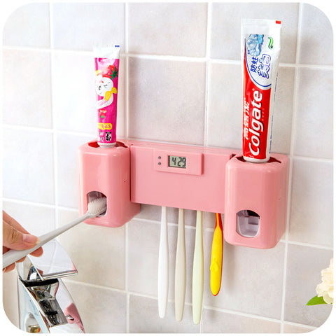 Bathroom Clock & Automatic Toothpaste Dispenser / Toothbrush Holder