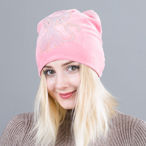Soft Women's Beanie featuring Chic Rhinestone Cat
