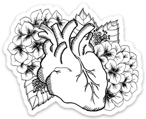 Heart and Hydrangea Vinyl Sticker