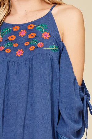 Indigo Floral Embroidered Loose Fit Top