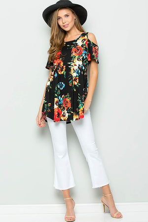 Black/Floral Cold Shoulder Baby Doll Tunic