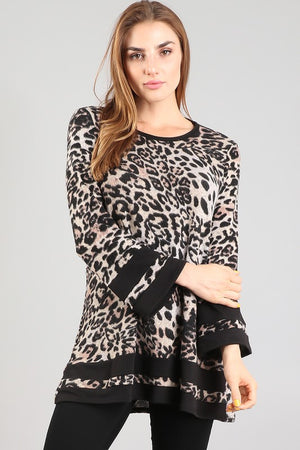 Leopard/Black Long Sleeve Tunic