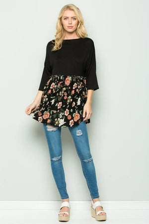 Plus Size Black/Floral Color Block