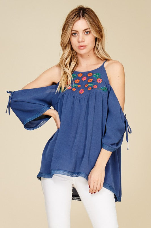 Blue Embroidered Open Back Top/
