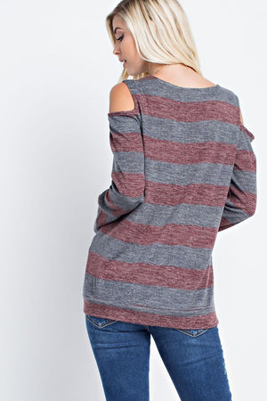 Striped Charcoal/Burgundy Cold Shoulder Long Sleeve Top