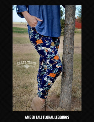 Crazy Train Amber Fall Floral Leggings