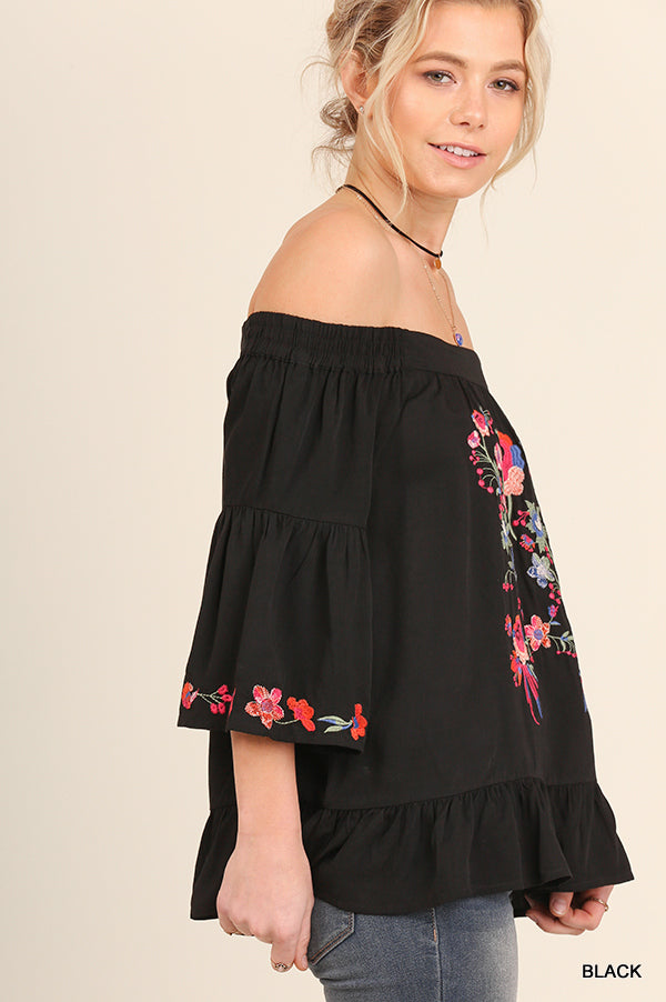 Black Off Shoulder Floral Embroidered Top