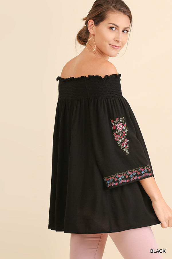 Umgee Black 3/4 Sleeve Off Shoulder Tunic with Floral Embroidery