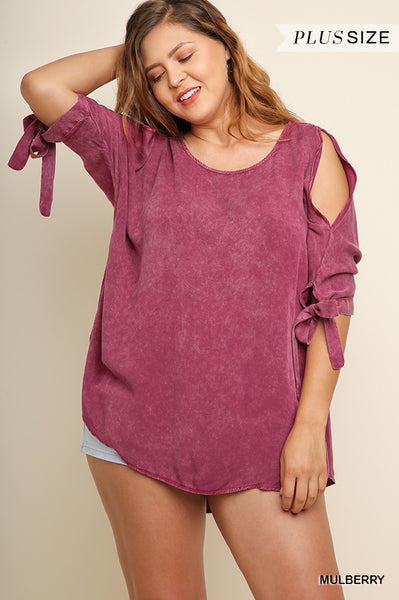 55e654e355b Plus Size Mulberry Open Shoulder Top w Tie Sleeves – Yellow Rose ...