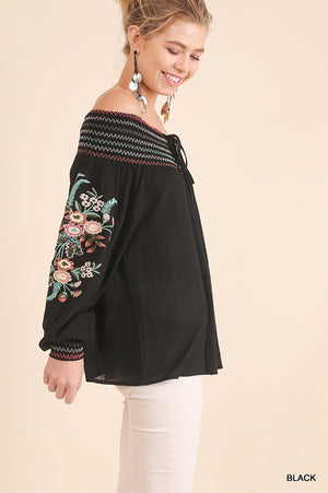 Umgee Black Off Shoulder Top with Floral Embroidered Long Sleeves