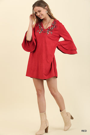 Red Floral Embroidered Dress Ruffle Sleeves