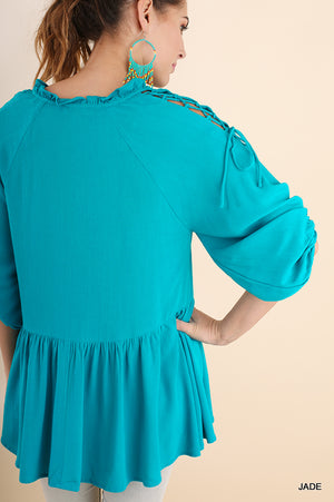 Jade Puff Sleeve Top Drawstring Shoulder