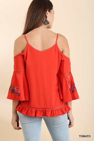 Tomato Red Embroidered Open Shoulder Top