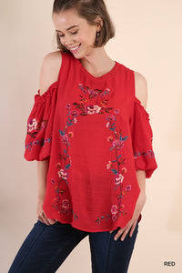 Red Floral Embroidered Puffy Sleeve Top