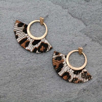 Gold/Grey Leopard Print Fan Shaped Earrings