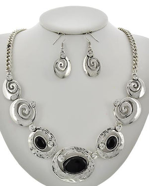 Silver with Black/Clear Stones Necklace & Earring Set