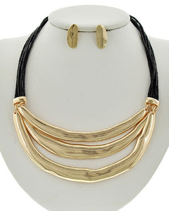 Multi Row Gold with Black Cord Necklace & Earring Set