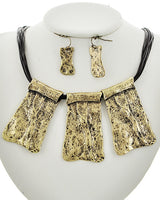 Burnish Gold Multi Strand Dark Brown Cord Necklace & Earring Set