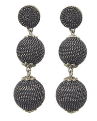 Gold/Black Woven Thread Ball Earrings