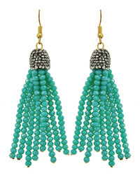 Turquoise Rhinestone Tassel Earrings