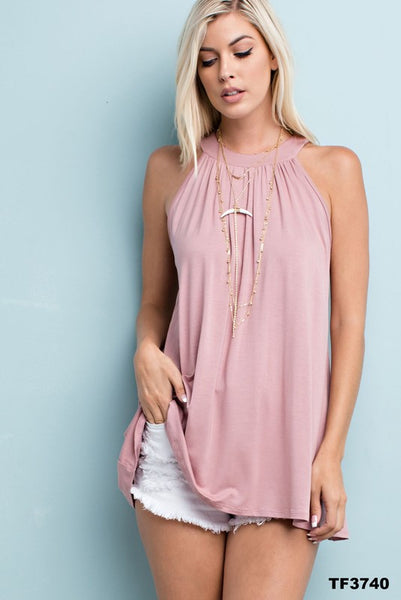 High Neck Gathered Mauve Sleeveless Top