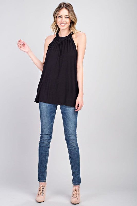 High Neck Gathered Black Sleeveless Top