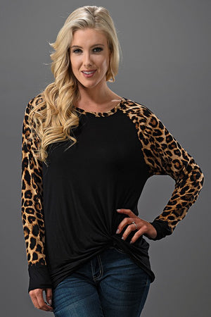 Long Leopard Sleeve w/Solid Body Front Twisted Knot Top
