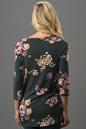 Charcoal Floral Print 3/4 Sleeves Front Twisted Knot