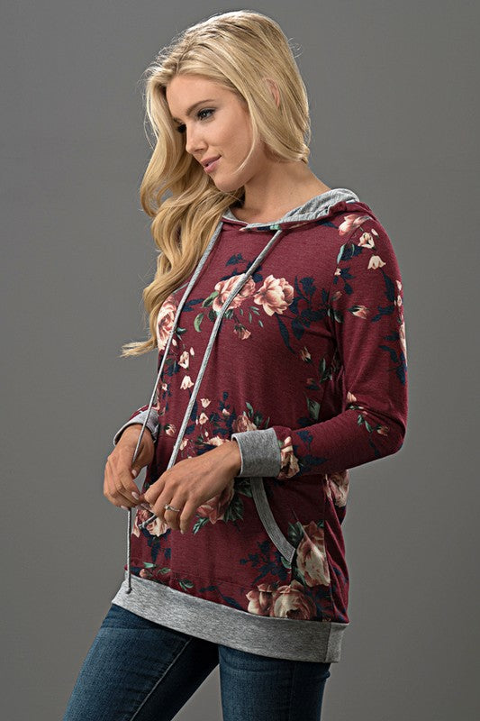Burgundy Floral Print Hooded Top with Pocket