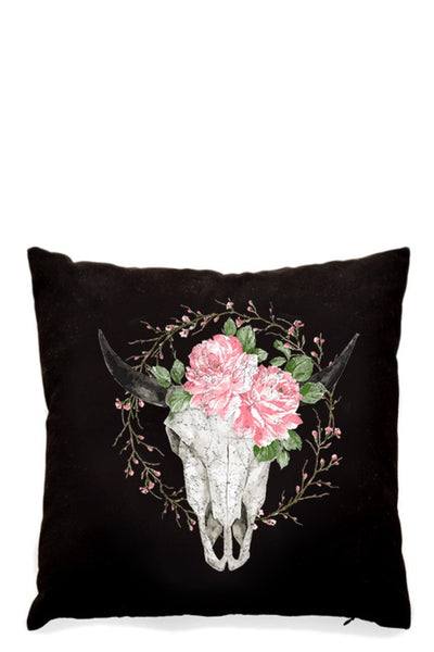 "Bull Head with Flower Black Pillow/Cushion Cover 16"" x 16"""