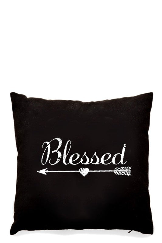 """Blessed"" with Arrow Black Pillow/Cushion Cover 16"" x 16"""