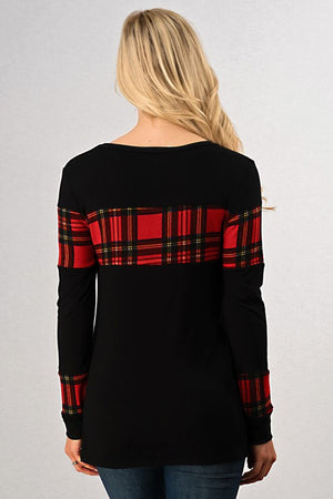 Black Casual Long Sleeve Top with Red Plaid Insert