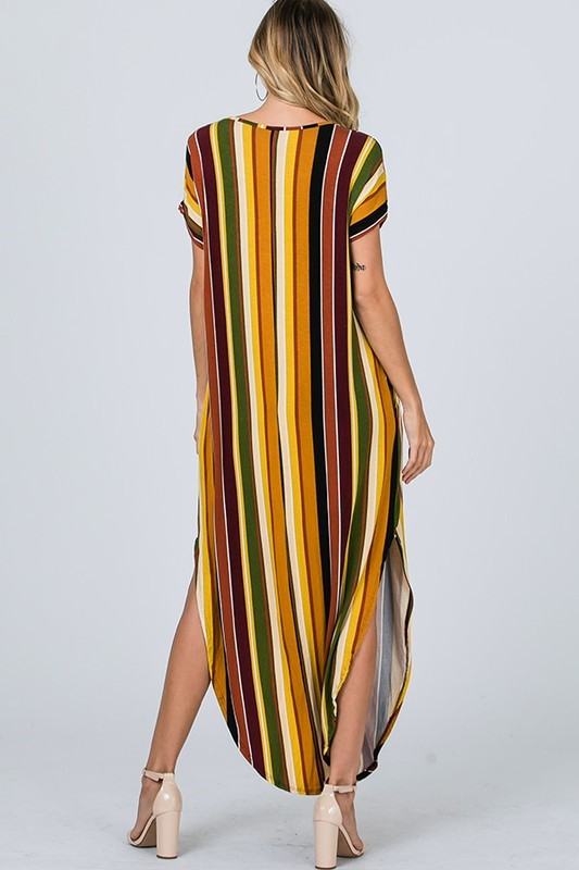 Olive/Multi Color Stripe Maxi Dress