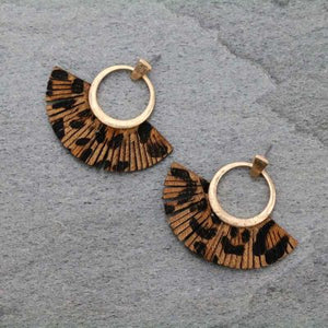 Gold & Leopard Fan Shaped Earrings
