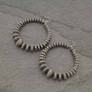 Big Silver Beaded Earrings