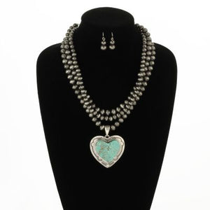 Silver Plated Multi-Strand Navajo Pearl Necklace Heart Pendant