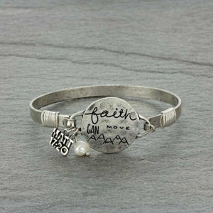 """FAITH CAN MOVE"" Silver Message Bracelet"